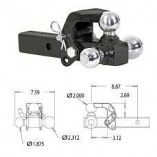 44-1802279       TRI-BALL w/PINTLE CHROME