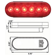 49-STL-12RB      RED 6in.OVAL 6 diodes fleet