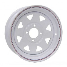 "61-13S4   13"" x 4.5"" 4 bolt WHITE SPOKE STEEL Trailer Rim"