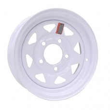 "61-13S5    13"" x 4.5"" 5 BOLT  WHITE SPOKE Steel Trailer Wheel"