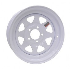 "61-15S55  15"" 5 bolt White Spoke Steel Trailer Rim"
