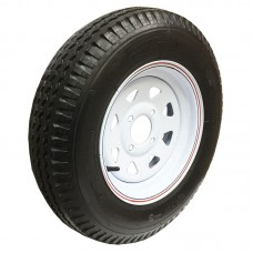 62-480-12-4C     480-12 C LOADSTAR Trailer Tire on 4 Bolt White Spoke Wheel