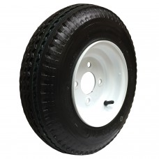62-480-8-4-B     480- 8 B LOADSTAR Trailer Tire on 4 Bolt White Spoke Wheel
