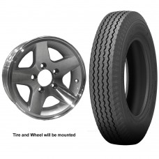 62-530-12M5A     530-12 C LOADSTAR Trailer Tire on 5 Bolt Aluminum Star Wheel
