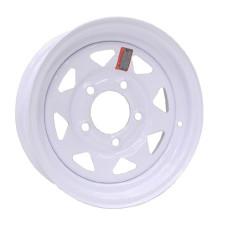 """61-12S5  12"""" x 4"""" 5 bolt White Spoke Trailer Rim"""