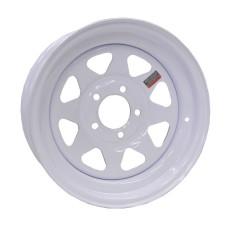 "61-14S5     14"" x 6"" 5 bolt WHITE SPOKE Steel Trailer Wheel"