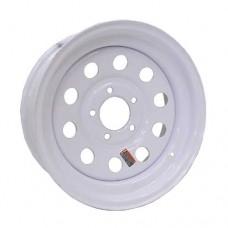 "61-15M5   15"" 5 bolt White MOD Steel Trailer Rim"