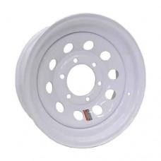 "61-15M6    15"" 6 bolt White MOD Steel Trailer Rim"