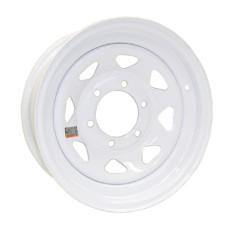 """61-15S6    15"""" 6 bolt White Spoke Steel Trailer Rim"""