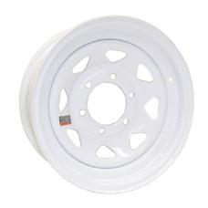 """61-16S6   16"""" 6 bolt White Spoke Steel Trailer Rim"""