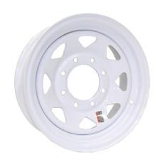 """61-16S8    16"""" 8 bolt White Spoke Steel Trailer Rim"""