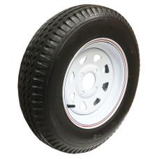 62-480-12-4C     480-12 C LOADSTAR Trailer Tire on 4 Bolt White Spoke Wheel